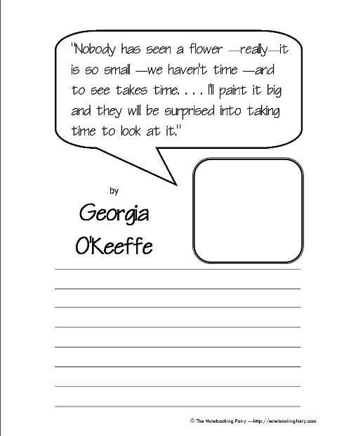Georgia O\'Keeffe Quotation Copywork from notebookingfairy.com | Art ...