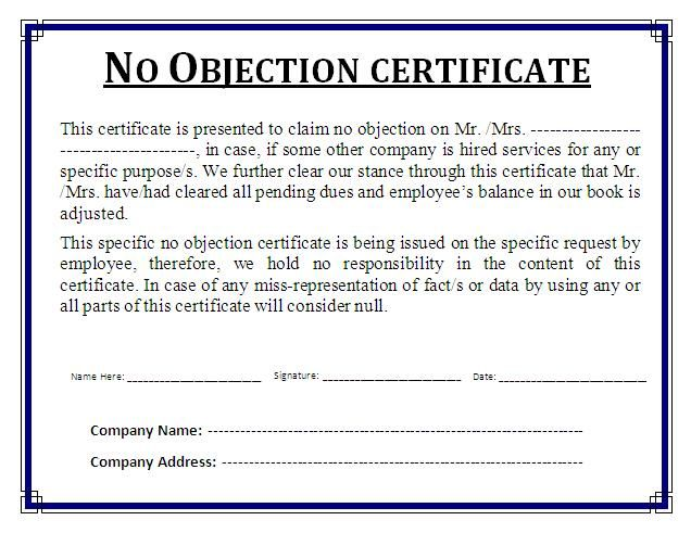 10+ No Objection Certificate Templates Free Printable Word  PDF
