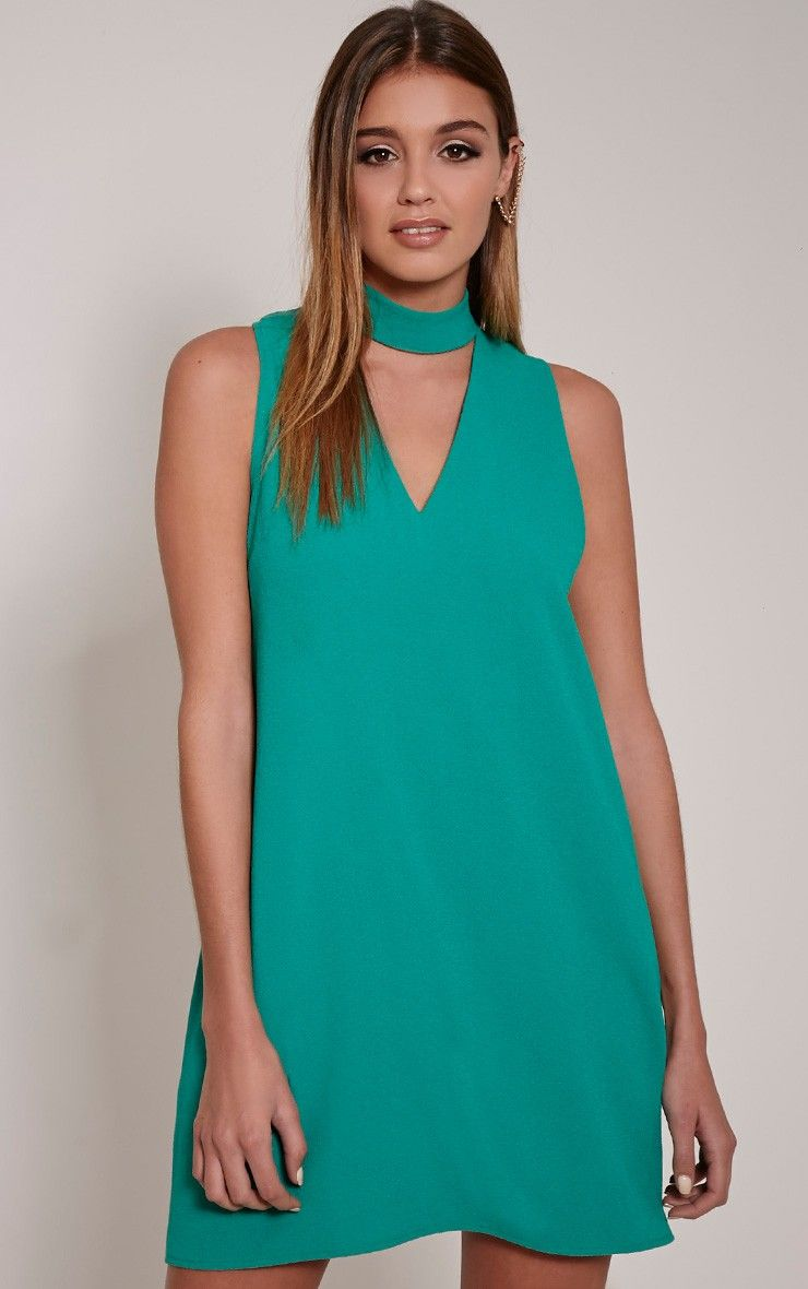 Cinder Bottle Green Cut Out Neck Shift Dress | #PLTCYBERPARTY ...