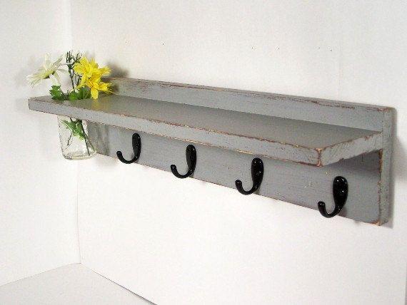 Wood shelf 4 key hooks with floral wall vase, coat hooks, wood ...
