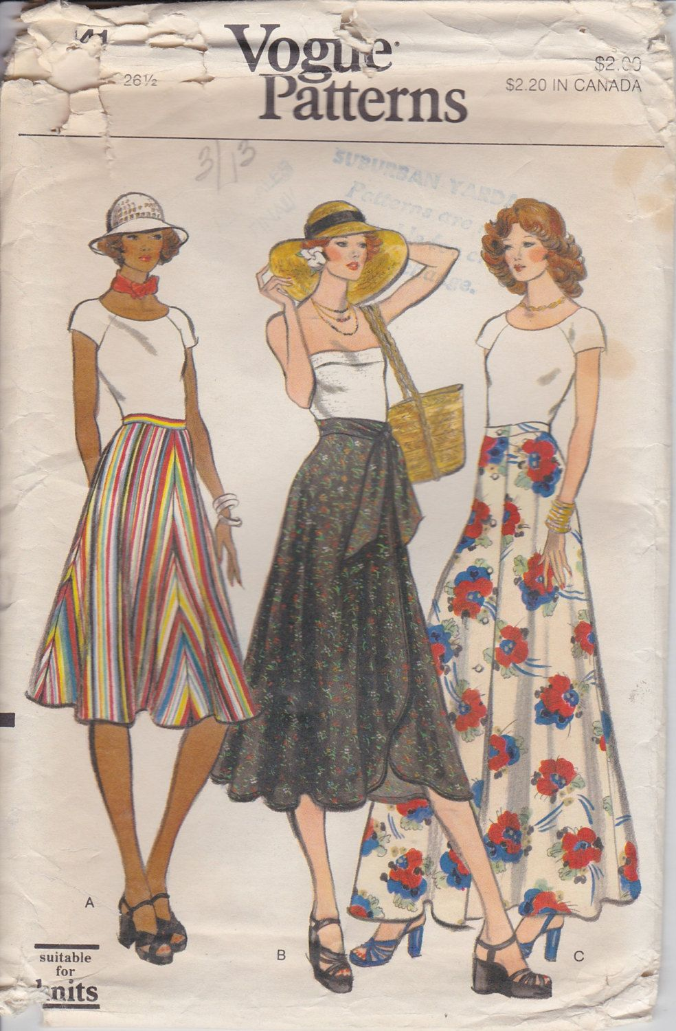 105280f71f 70s Wrap Skirt 1970s Maxi Skirt Sewing pattern Vogue by SissysPatterns on  Etsy