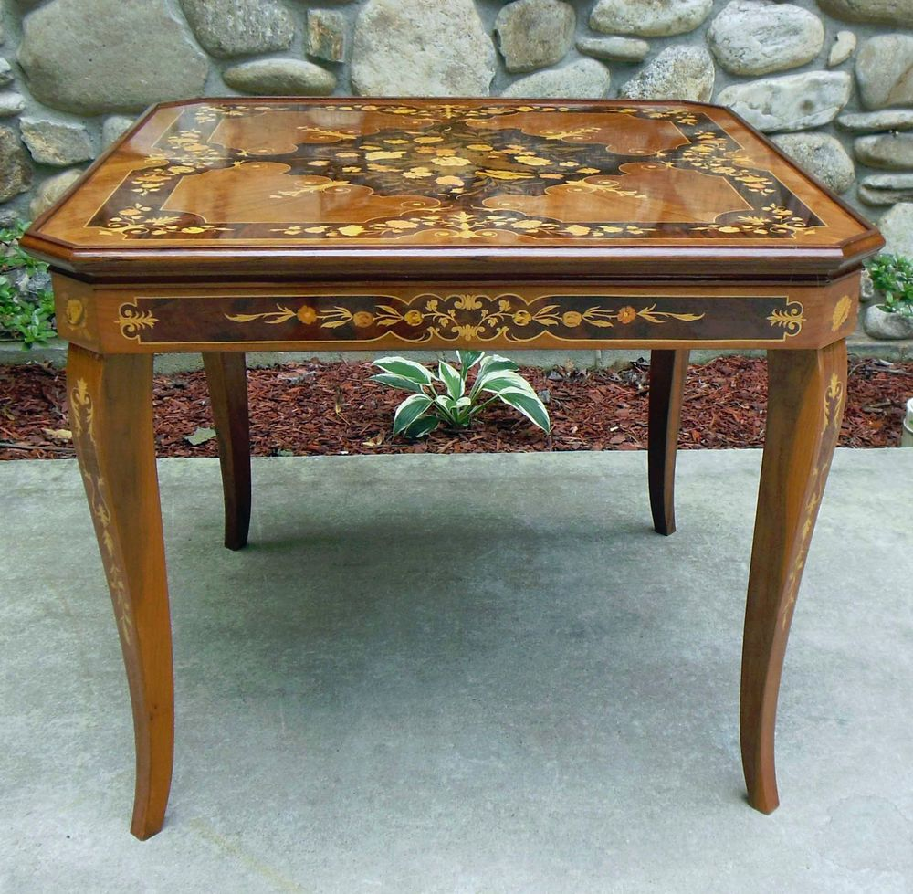 Marquetry Design Italian Wood Inlay Inlaid Multi Game Table