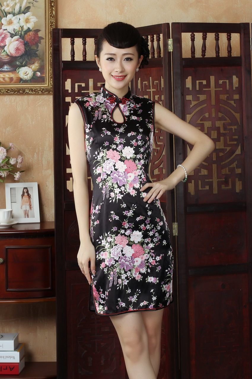 Sexy Mini Black Chinese Women Traditional Dress Faux Silk Short Qipao  Cheongsam Mujer Vestido Flower Size S M L XL XXL NC012 b4d0d0037def