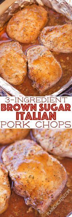 3-Ingredient Brown Sugar Italian Pork Chops - Plain Chicken