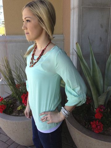 Closet Candy Boutique · Mint Blouse with Bow Sleeve