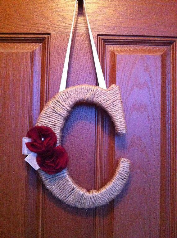Outdoor Hanging Letter C By Uchique On Etsy 26 00 Hanging Letters Twine Wrapped Letters Wooden Letters