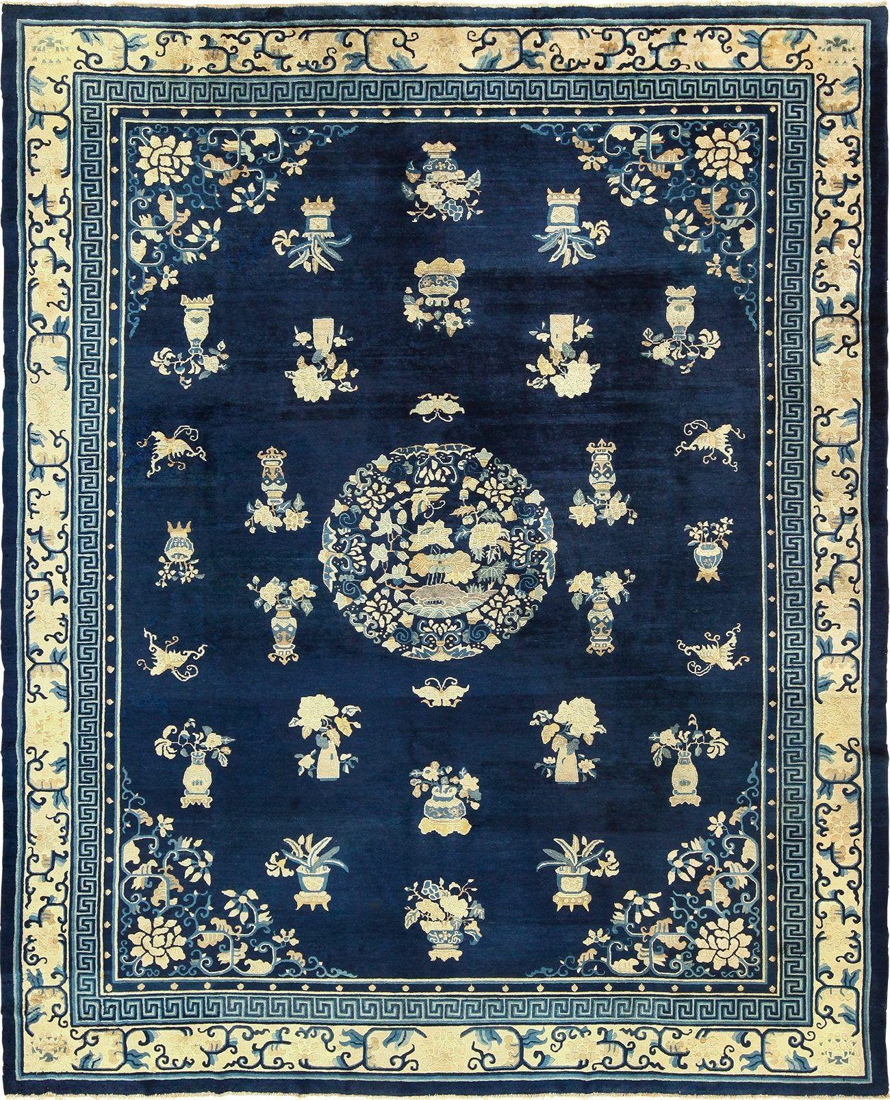 Chinese Blue And White Antique Peking Rug 49474 Nazmiyal Chinese Rug Antiques Rugs