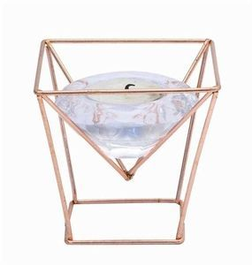 Glass Tealight Holder with Electroplated Copper Stand, Set of 6