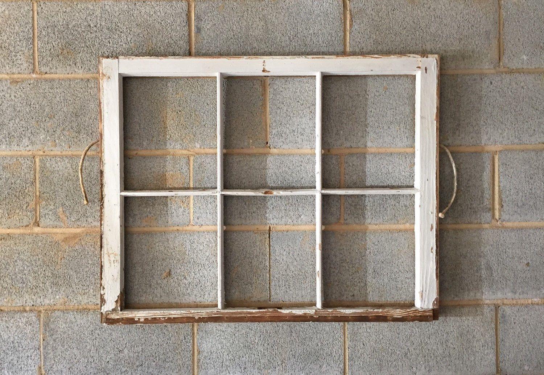 NO GLASS Vintage 6 Pane Window Frame - White, 34 1/2 x 27, Rustic ...