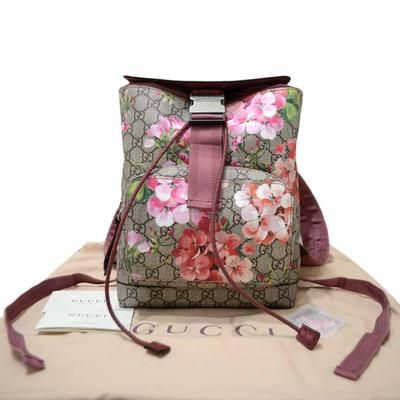 e3df8986284ae7 GUCCI Supreme GG Beige PVC Backpack with Blooms Print 410544 | Lollipuff  Authentic and half off retail!