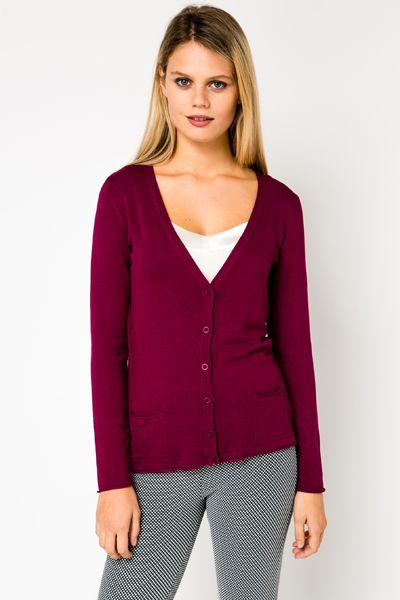 V-Neck Fine Knit Maroon Cardigan | yes | Pinterest | Maroon cardigan