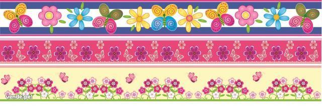 Cenefas niñas flores buhos mariposas