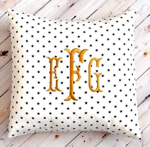 Decorative Pillow - Monogram Pillow Cover - Mini Stars on White - Personalized Gift - Throw Pillow Cover - Nursery Decor - Nautical Decor  $28.00