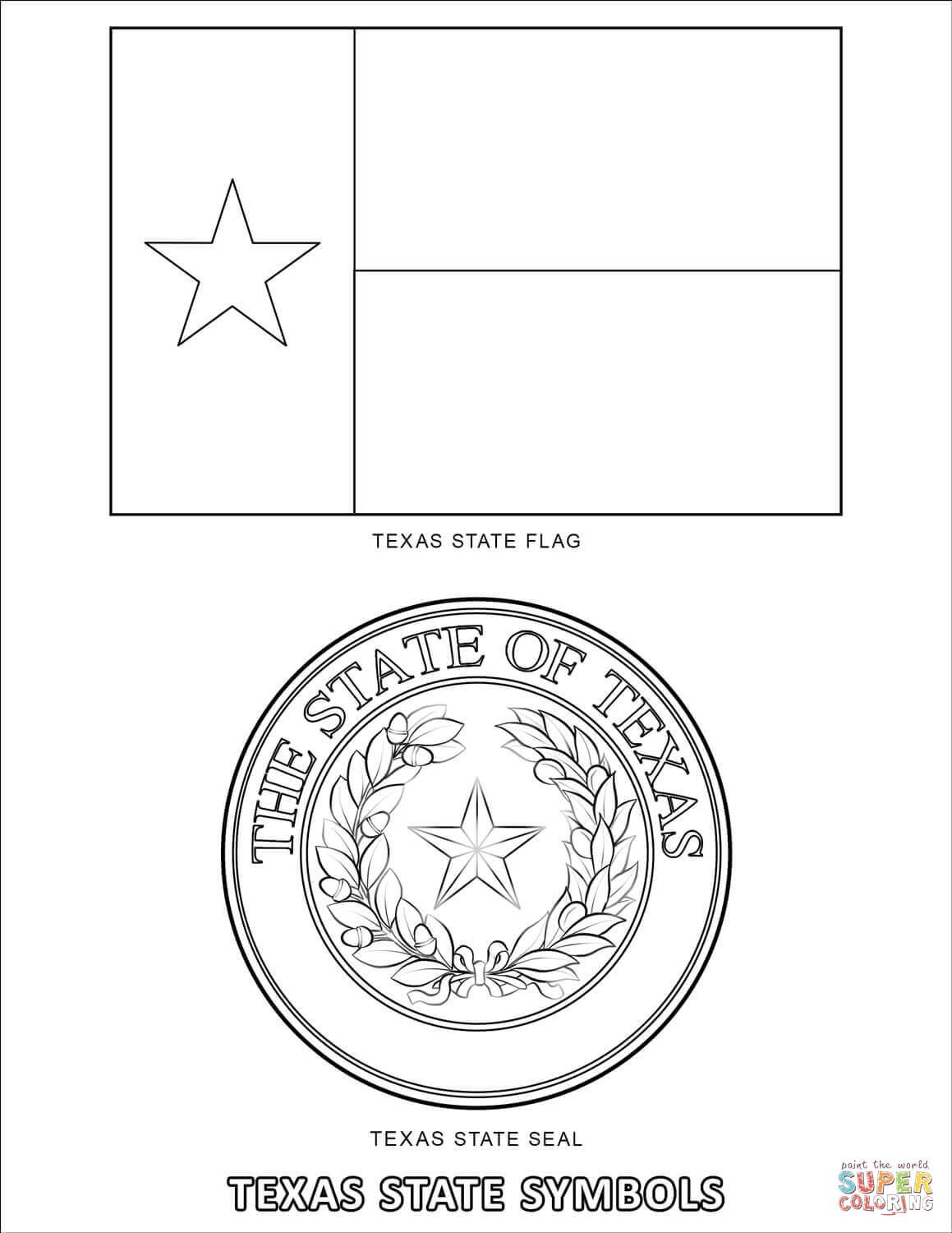 Texas State Symbols Coloring Page