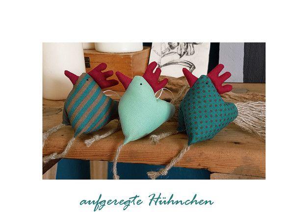 3 Hühnchen Huhn Hühner petrol, dunkeltürkis | Chicken crafts and Craft | {Tischaccessoires 42}