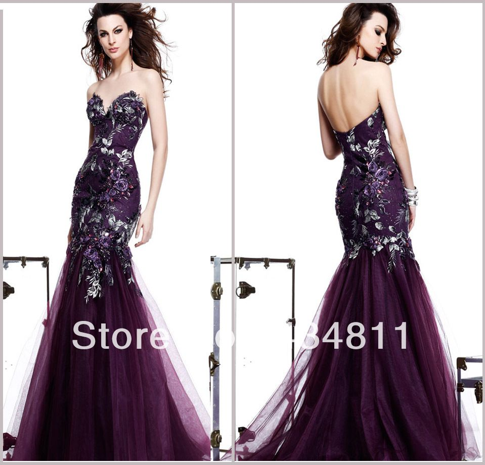 Dark Purple Mermaid Prom Dresseslace Sweetheart Mermaid ...
