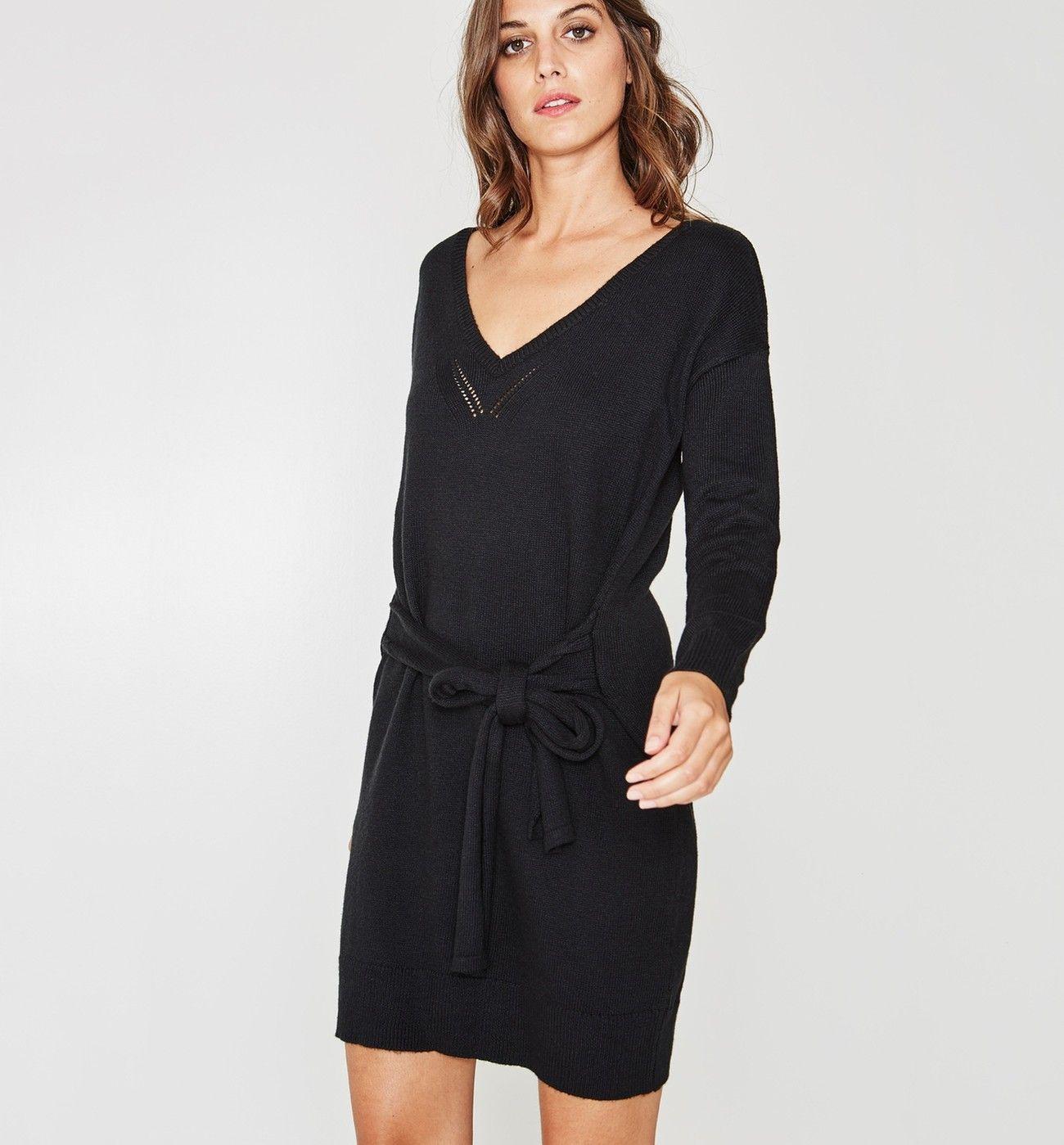 Noir PromodAchats Robes Robe Pull Nouée Femme rshtQdCx