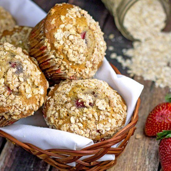Cool fresh strawberries and warm cinnamon spice combine in one muffin