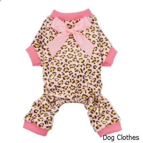 Dog Clothes - Fitwarm Leopard Print Velvet Pet Dog Jumpsuit with Ribbon
