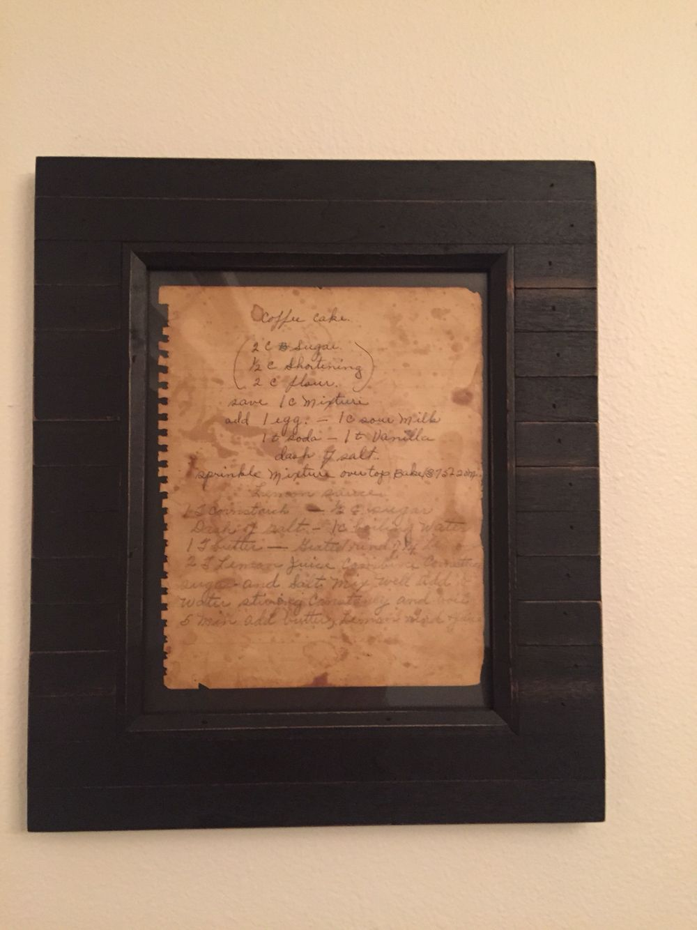 Great grandmas framed family recipe for the dining room wall