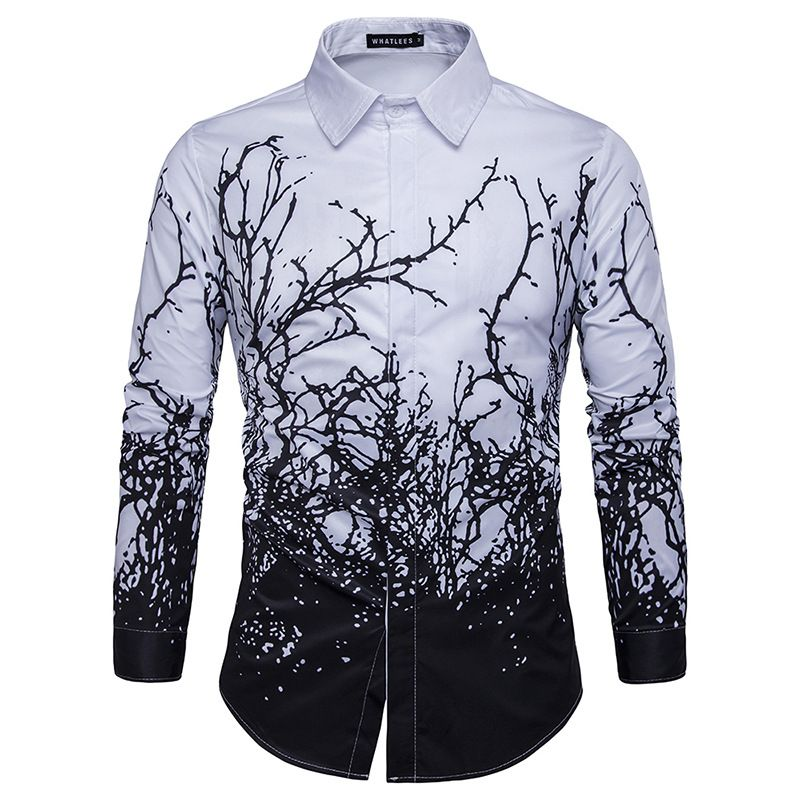 SELX Men Long Sleeve Printed Lapel Fashion Ethnic Style Dress Work Shirt