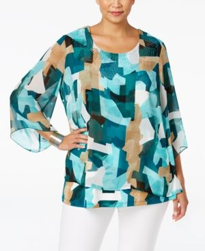 Jm Collection Plus Size Embellished Popover Top, Only at Macy's - Blue 1X