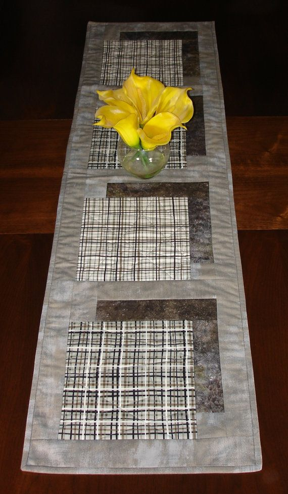 Modern Taupe Table Runner Taupe And Grey Quilted By FabriArts