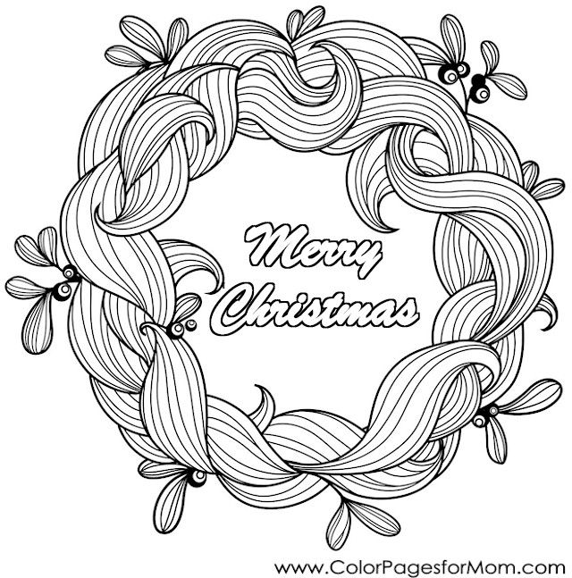 Christmas Coloring Pages Wreath Christmascoloringpage Coloringpagesforadults