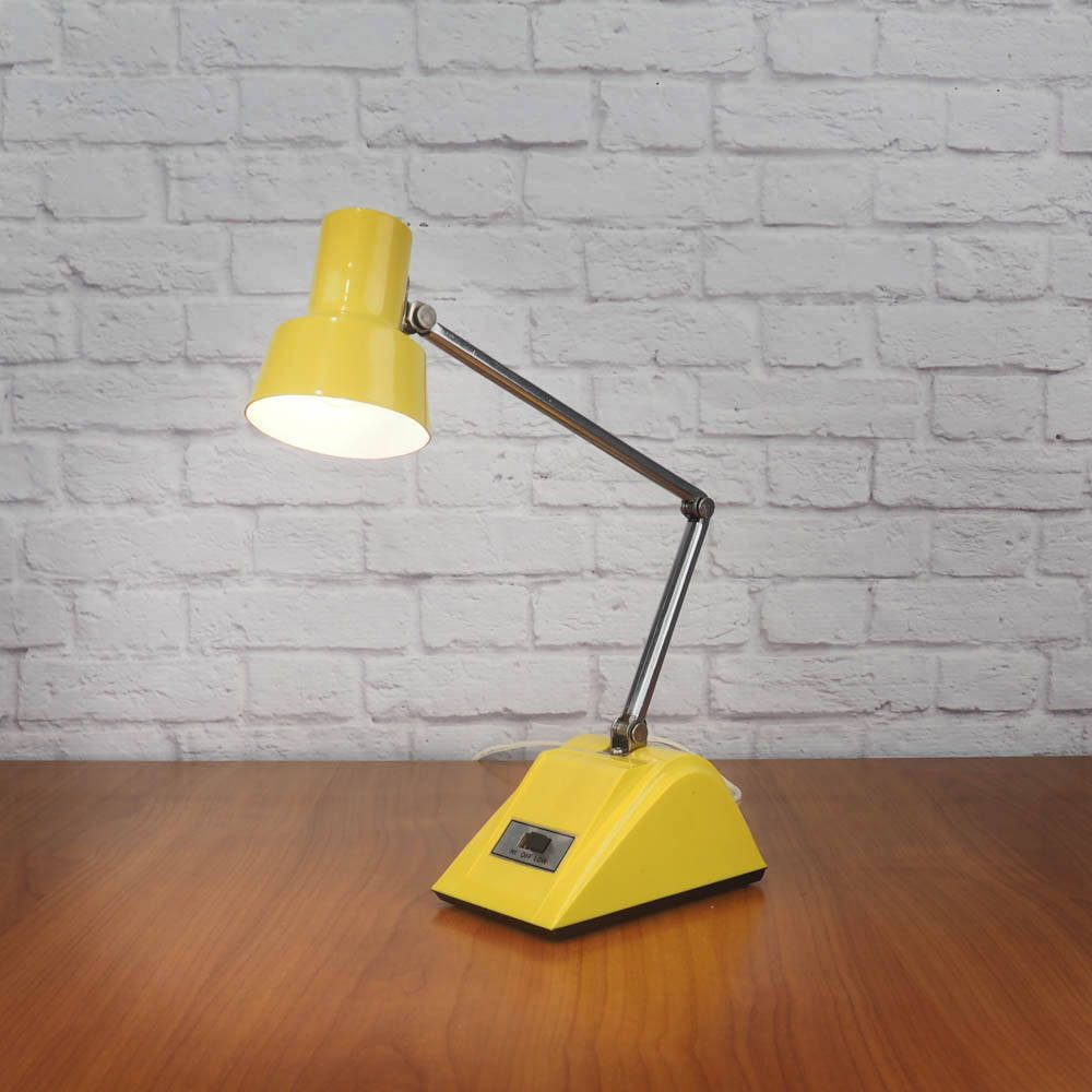 Vintage Yellow Desk Lamp Mid Century Modern Hi Intensity Adjustable Task Light Hamilton Industries H 19 By Desk Lamp Adjustable Desk Lamps Yellow Desk Lamps