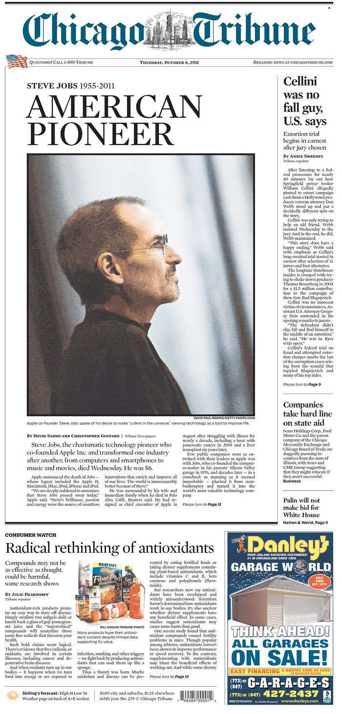 Historical Newspapers Steve Jobs Historical Newspaper Chicago Tribune