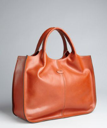 Tod's : burnt orange leather logo tote