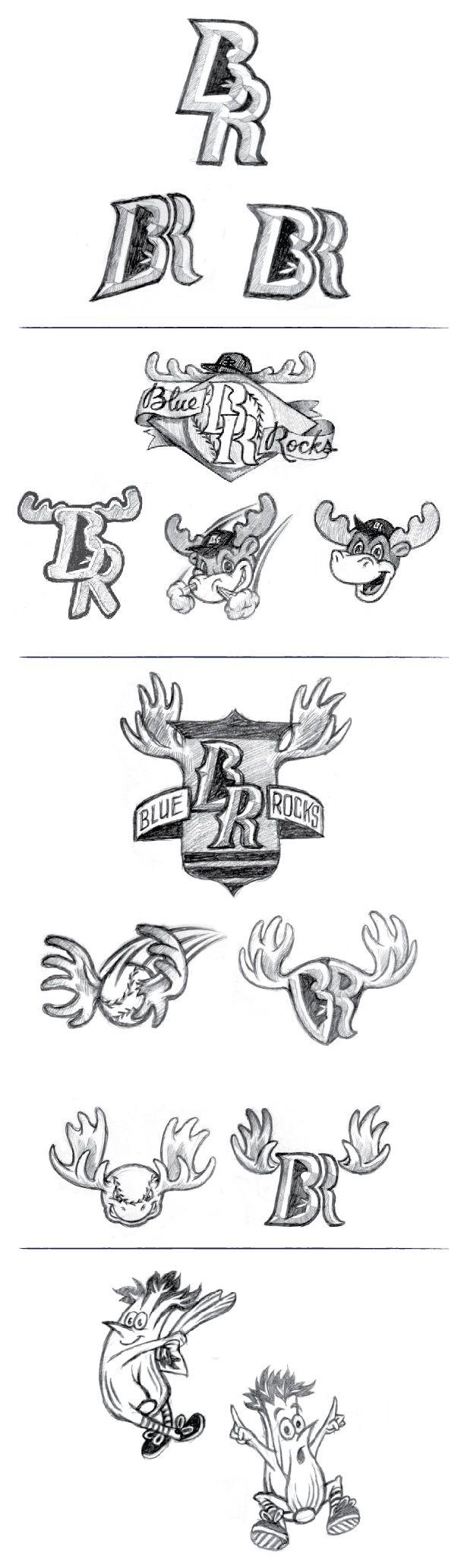 Nice process shot of the Wilmington Blue Rocks Logo