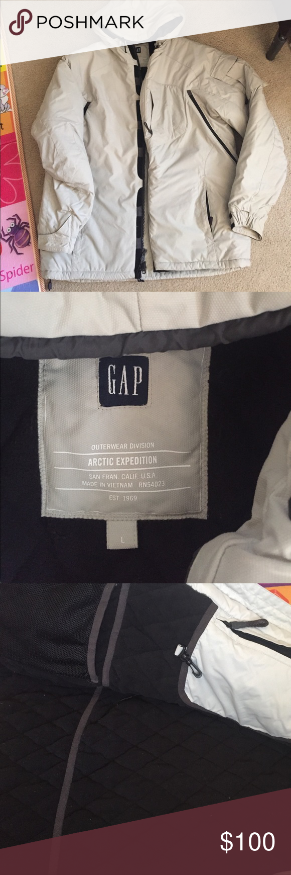 Gap Mens Arctic Expedition Outerwear Excellent Shape Small Spot On Zipper Area As Pictured Light Grey Tan Gap Jackets Outerwear Gap Jacket Snowboarding Coats [ 1740 x 580 Pixel ]
