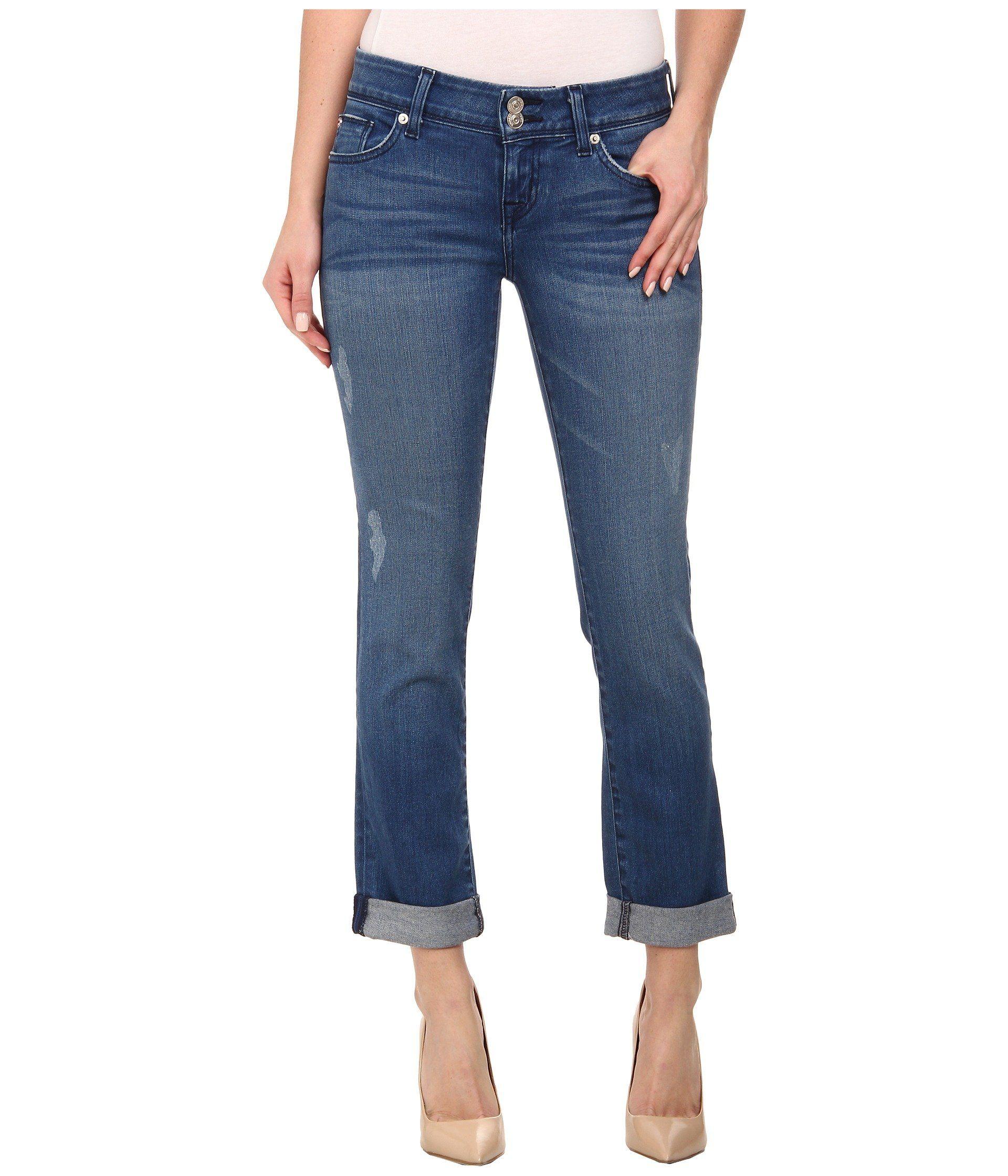 Hudson Jeans Womens Zoeey High Rise Deep Cuff Straight Crop 5 Pocket Jean