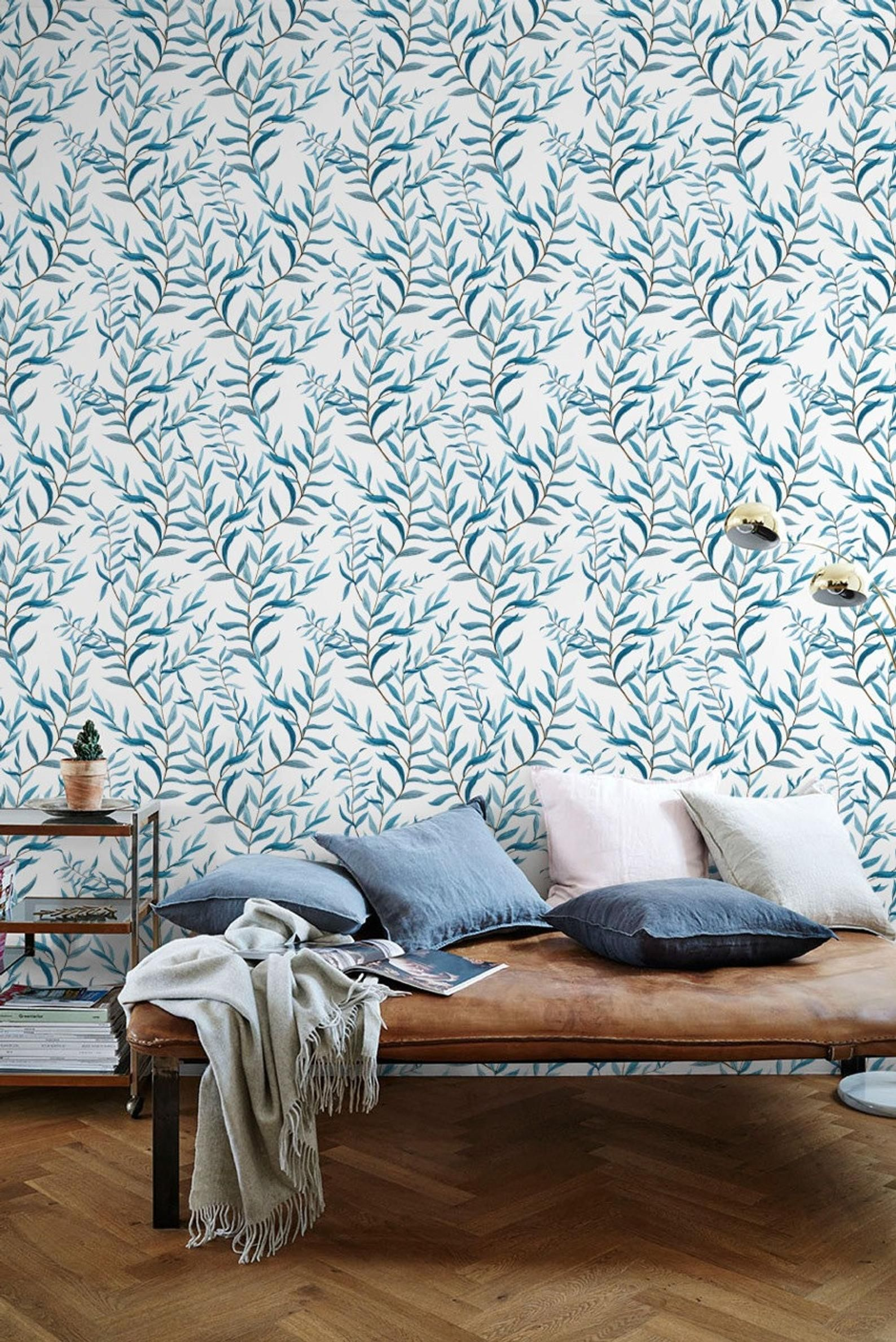 Watercolor Blue Leaf Wallpaper Removable Wallpaper Self Adhesive