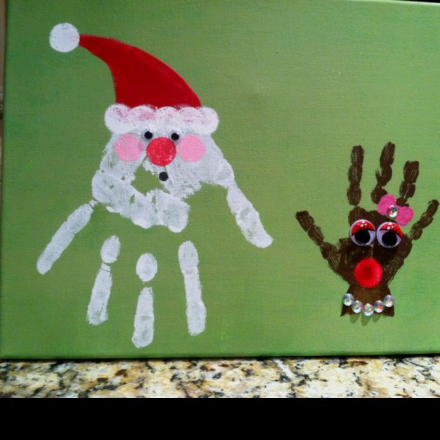 Santa and reindeer handprints by us! | Gift ideas | Pinterest
