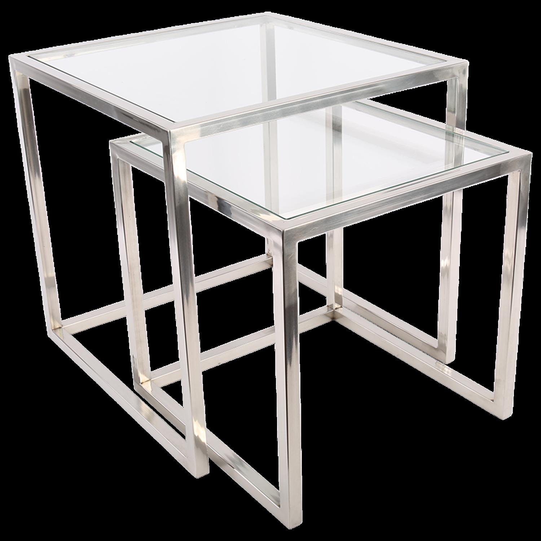 Bijzettafel Glas Chroom Vierkant.Set Van 2 Bijzettafels Cavallo Glans Chroom 6107 Pakhuis3