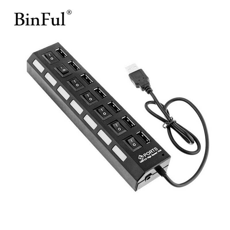 NEW Portable 7 Port High Speed USB 2.0 Port Switch HUB Splitter Computer Cables