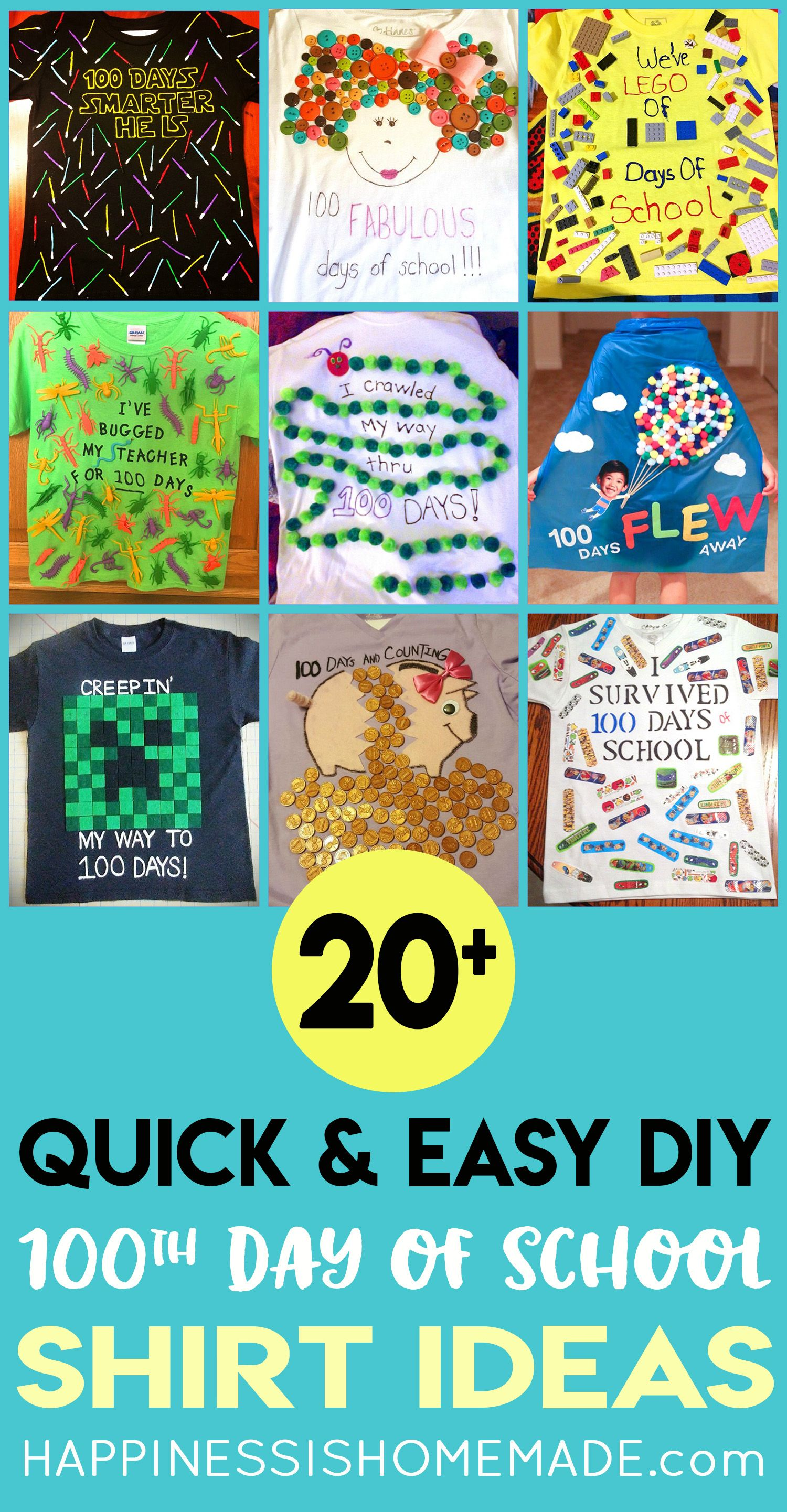 Easy 100 Days of School Shirt Ideas - Happiness is Homemade