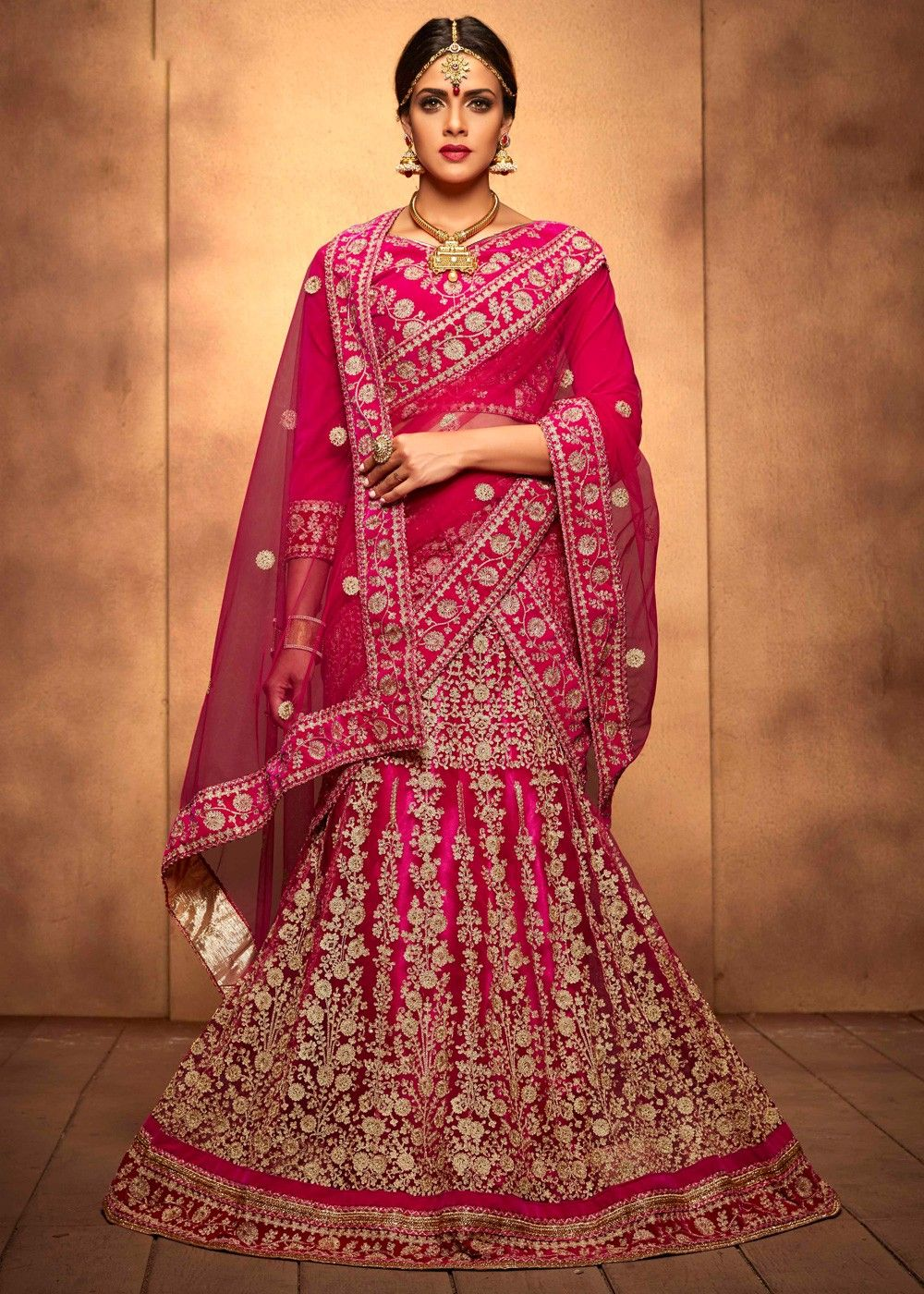 cbc6964511 #Pink #net #lehenga designed with stone, zari, #resham embroidery, #lace  and #patch border work.