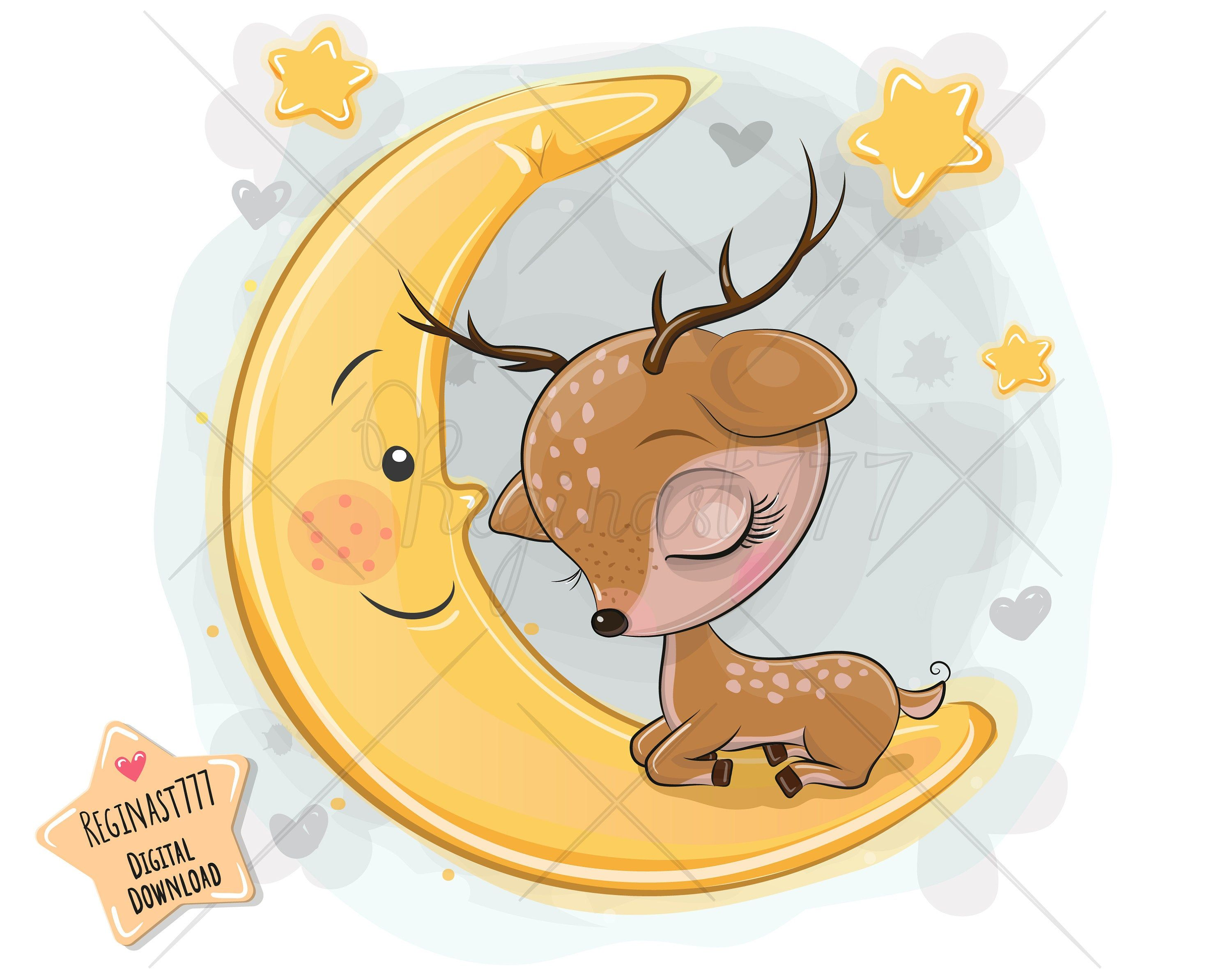 Excited To Share The Latest Addition To My Etsy Shop Cute Cartoon Deer Png Girl Boy Moon Digital Download Cli Deer Png Cartoon Deer Digital Clip Art Set
