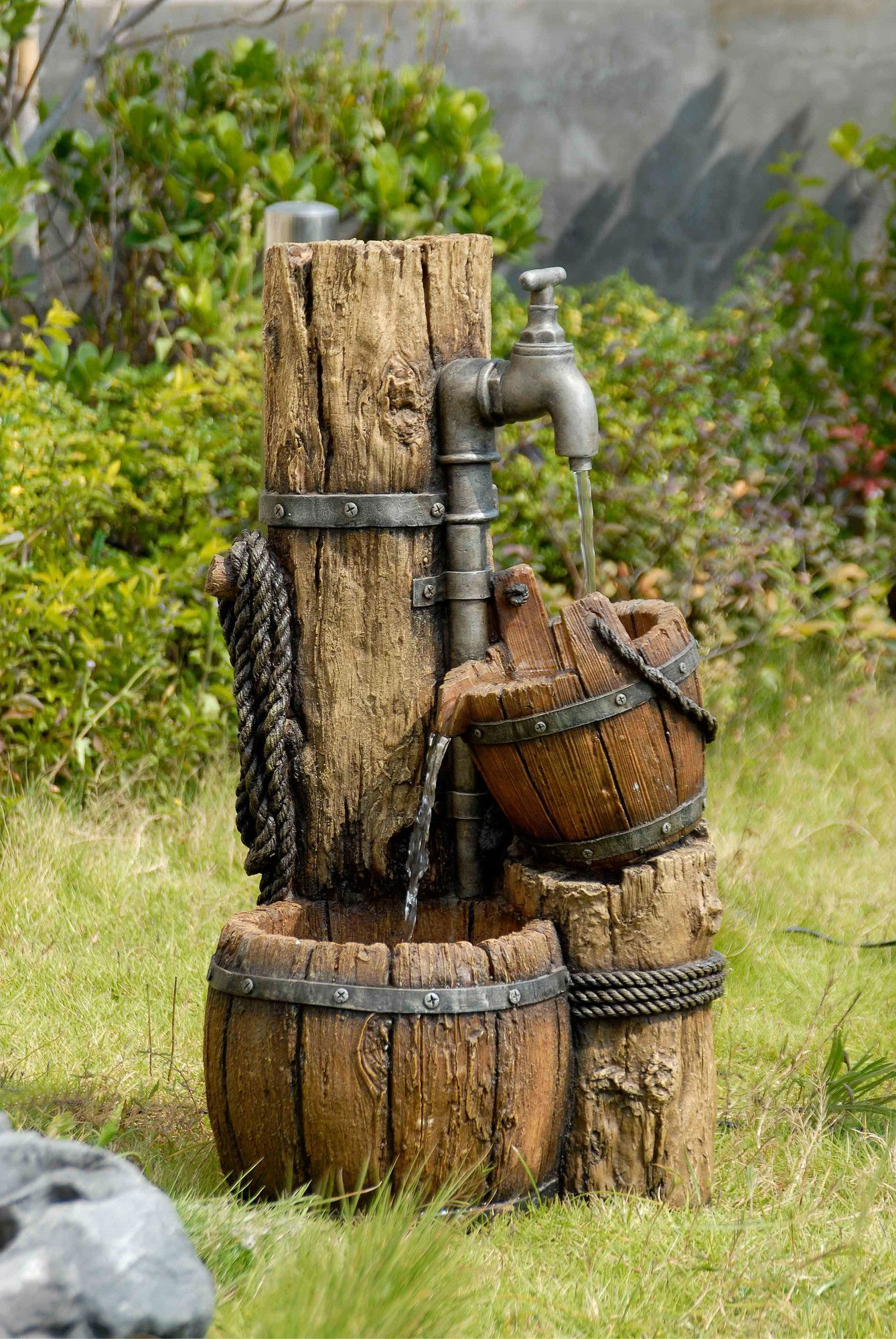 Polyresin Brunnen Selber Bauen Resin Fiberglass Tiered Wood Cask Fountain Brunnen Garten