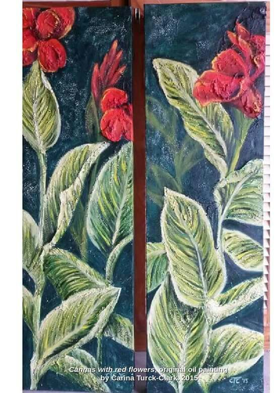 'Cannas with red flowers', original oil painting, set of 2 canvasses. By artist Carina Turck-Clark. For sale. Go to www.facebook.com/thouartuseful/