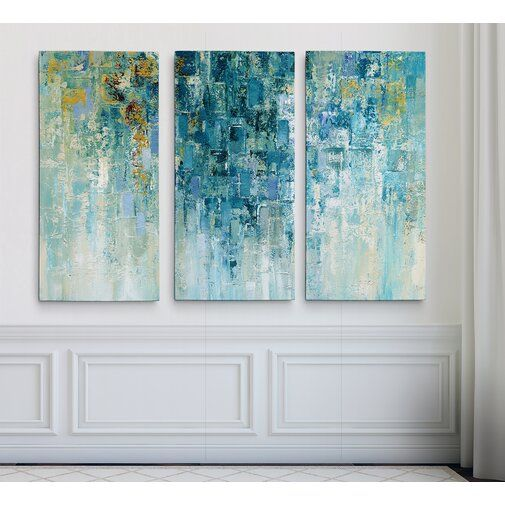 I Love The Rain 3 Piece Wrapped Canvas Multi Piece Image Print Set Art Abstract Art Painting Decor