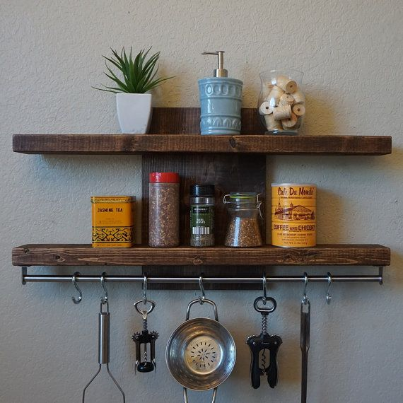 "Woodworking Plans For Kitchen Spice Rack: Modern Rustic 2-Tier Spice Rack Shelf W/ 30"" Pot Rack Bar"