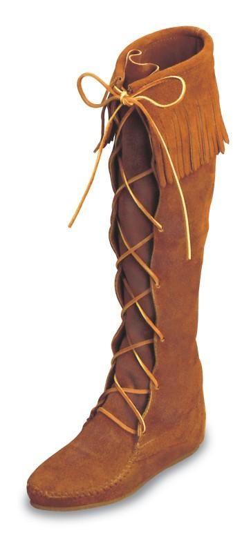 Black Minnetonka Mens Boots Suede Front Lace Hardsole Knee Hi