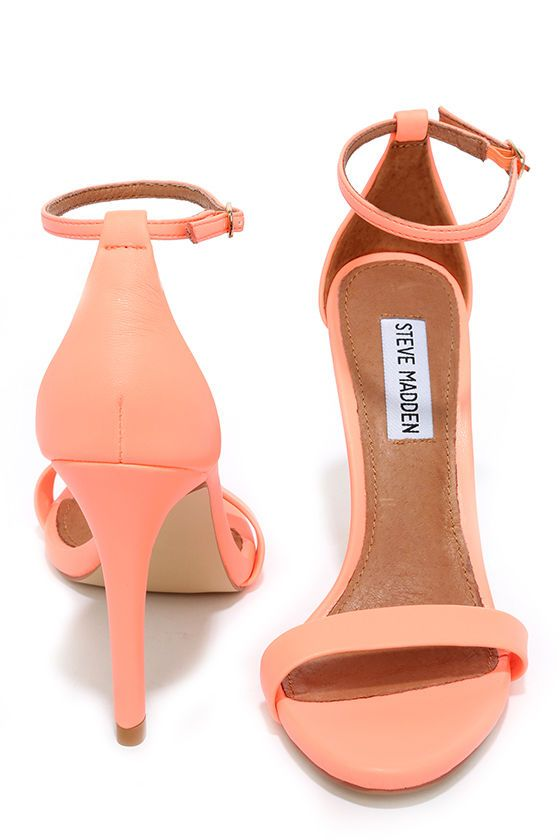fe33200b88b Steve Madden Stecy Coral Neon Ankle Strap Heels