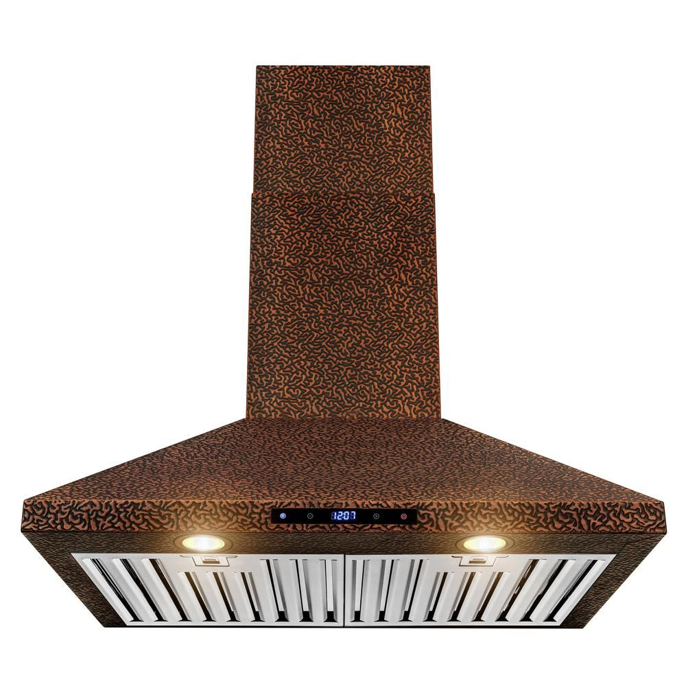 AKDY 30 in. Convertible Kitchen Wall Mount Range Hood in Embossing Copper with Halogen and Touch Panel-RH0377 - The Home Depot