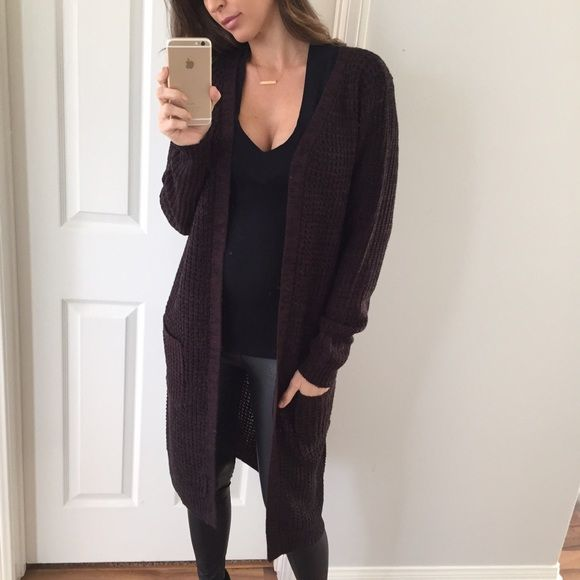 Sold • Chocolate Brown Long Knitted Cardigan Boutique | Winter ...