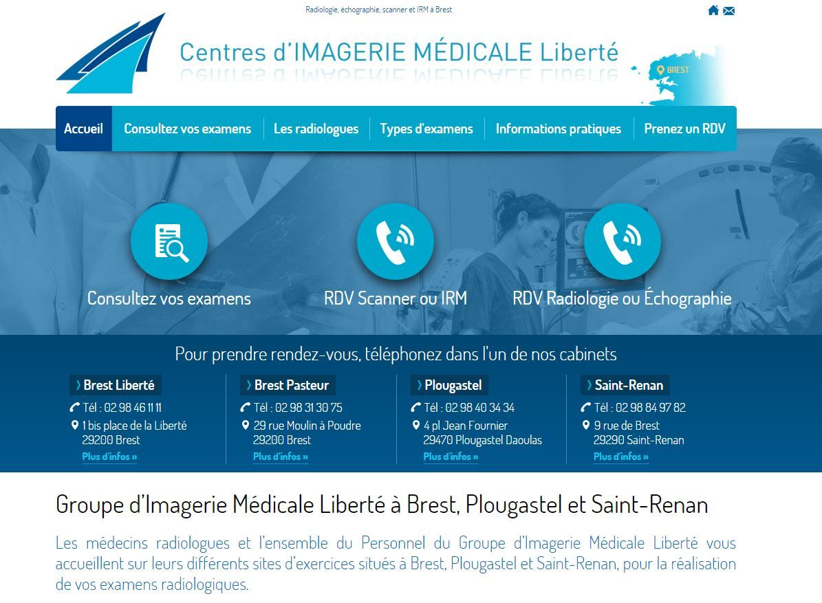 Découvrez le site du Centre Médical Liberté de Brest. Prenez RDV pour une radio, une échographie, un scanner ou un IRM directement sur le site. Consultez vos examens en ligne.
